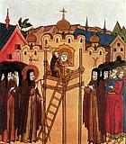 Преподобный Андрей Рублёв расписывает храм