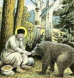 Преподобный Серафим кормит медведя хлебом