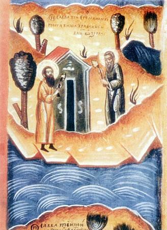 Преподобные Савватий и Герман строят храм