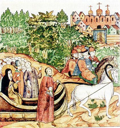 Святитель Стефан Пермский  по дороге в Москву