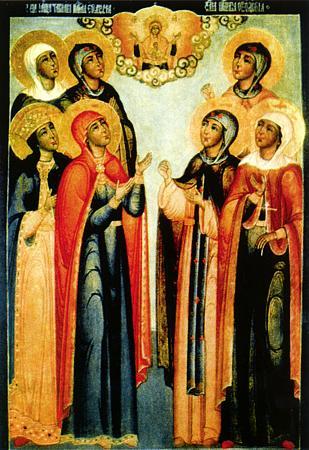 Мученицы Татиана, Евдокия, Екатерина, Анна, Феодосия, Марфа и Наталия