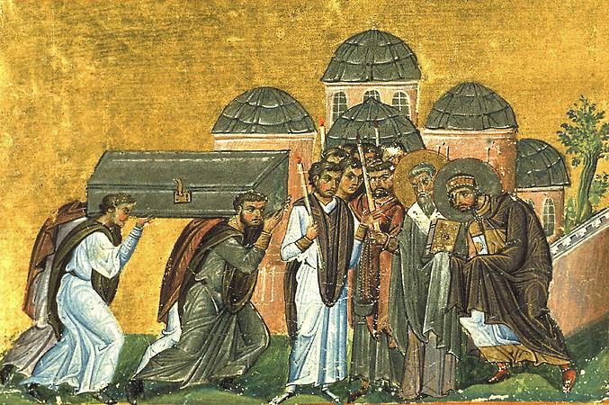 Перенесение мощей Иоанна Златоуста в Константинополь в храм святых Апостолов.