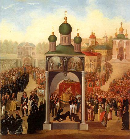 Погребение и перенесение мощей святителя Митрофана Воронежского
