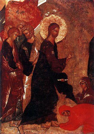 Праведные Марфа и Мария у ног Спасителя