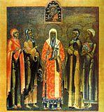 Святитель Алексий, митрополит Московский, пророчица Анна, Симеон Богоприимец, Евдокия и Фекла