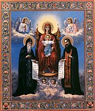 Печерская икона Божией Матери с предстоящими Антонием и Феодосием.