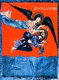 Архангел Михаил несет пророка Аввакума в львиный ров к пророку Даниилу