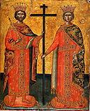 Святой равноапостольный царь Константин и равноапостольная царица Елена.