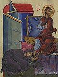 Блудница омывает ноги Спасителя.