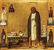 Преподобный Серафим Саровский с видом Саровского монастыря