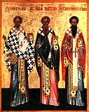 Три cвятителя: Николай Чудотворец, Иоанн Милостивый и Василий Исповедник